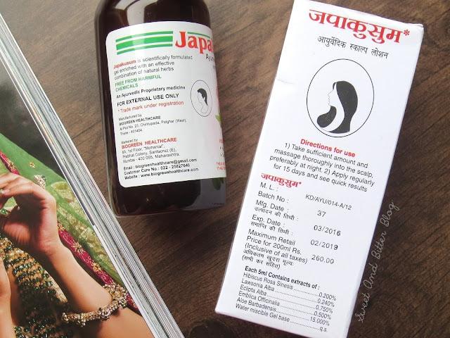 Japakusum Ayurvedic Scalp Lotion Ingredients