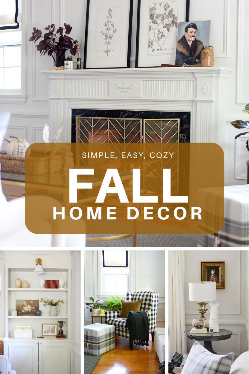 fall living room, fall home decor, fireplace mantel, fireplace with screen, buffalo plaid chair