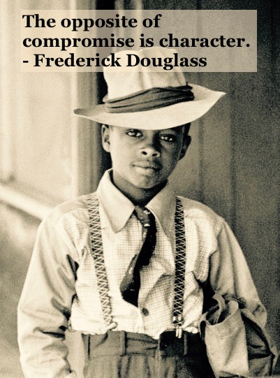 Photo of a well dressed young black child weaering suspenders by Henri Cartier-Bresson. c. 1940s. Compromise and character quote by Fredrick Douglass. Other stories of Racism and Civil Rights. Well said, Mr. Douglass. marchmatron.com