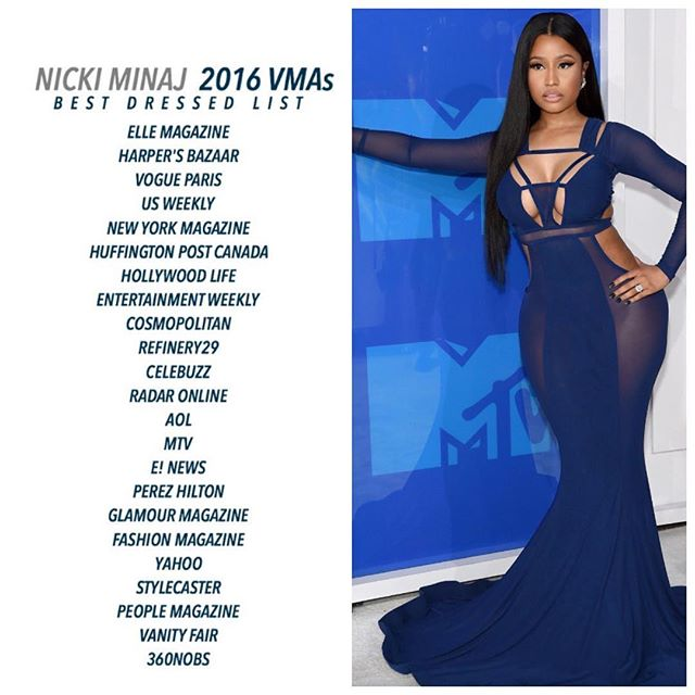 Nicki Minaj Acknowledges 360nobs For Giving Her Best Dressed Award