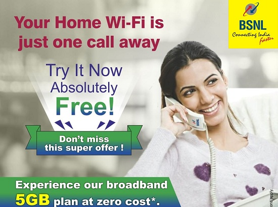 BSNL extended 'Home WiFi' 5GB Free Trial broadband plan to all landline customers till 31st May 2019
