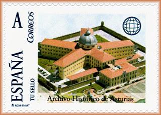 Sello personalizado del Archivo Histórico de Asturias, antigua cárcel de Oviedo