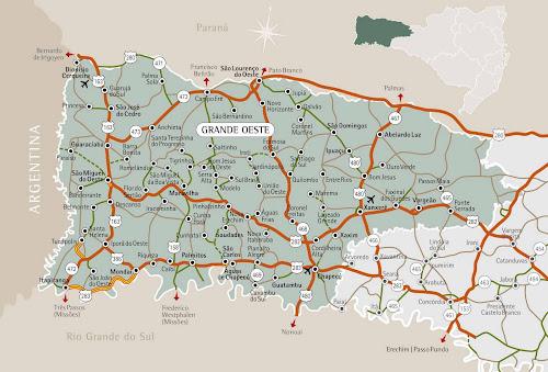 Mapa da região do Oeste - Santa Catarina