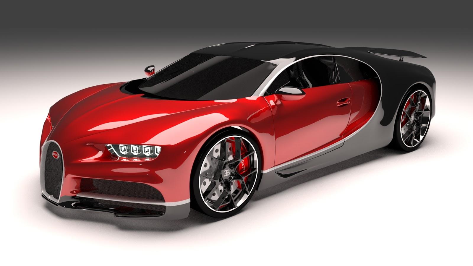 Free 3D Bugatti Chiron Red .blend file