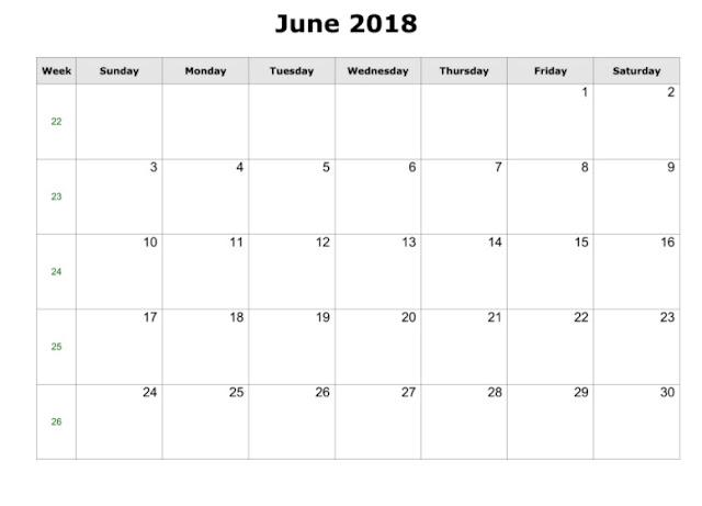 June 2018 Calendar, June 2018 Printable Calendar, June 2018 Blank Calendar, Free June Calendar 2018, Calendar June 2018, June 2018 Calendar Printable, 2018 June Calendar, June 2018 Calendar Holidays