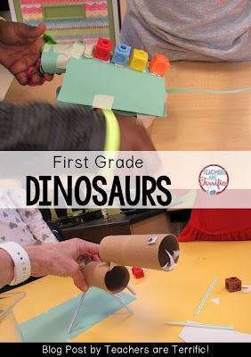 First Grade STEM: Build a dinosaur model! Check this blog post for book suggestions and a materials list!