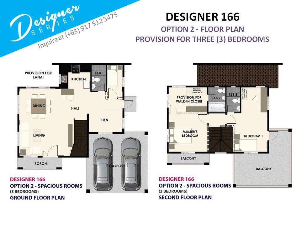 Option 2 - Floor Plan of Levanzo at The Island Park - Designer 166 Sf | House and Lot for Sale Dasmarinas Cavite
