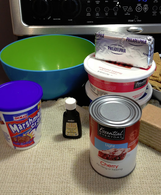 ingredients for cherry cheesecake dessert