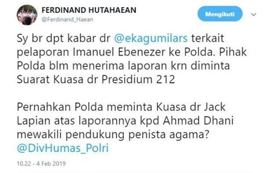 Ferdinand Hutahaean Bandingkan Pelaporan Immanuel Ebenezer dengan Ahmad Dhani: Polri Tolong Adil!