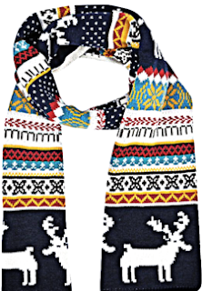 Simplicity Knitted Wraparound Scarf Deer and Snowflake Pattern, Blue/Beige