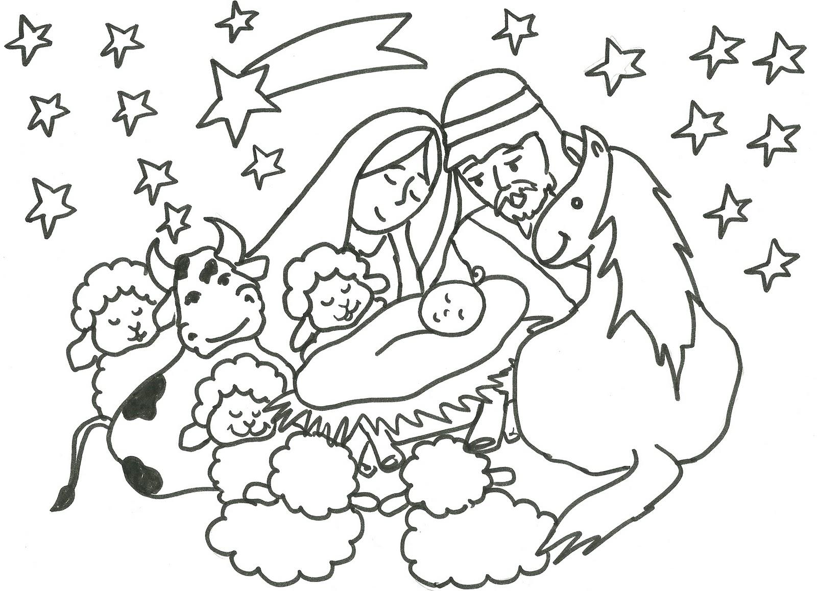 Desenhos Bíblicos Para Colorir: Presépio Para Colorir