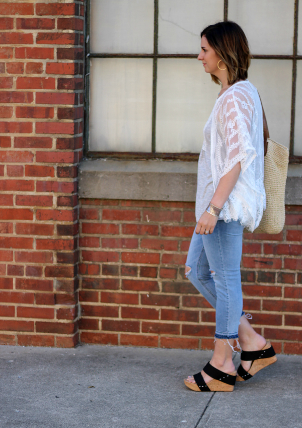 lace kimono, how to style a kimono, grace and emma, spring style, style on a budget