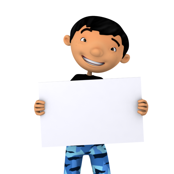 Cool Boy Holding a Blank Board, sign or banner