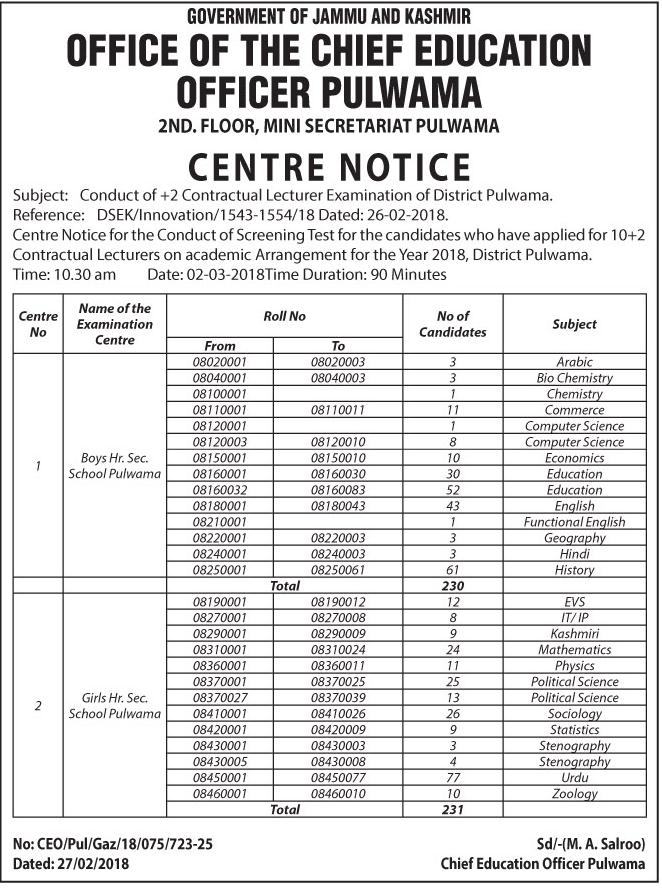 DSEK Centre Notice for +2 Contractual Lecturer Exam (Pulwama)