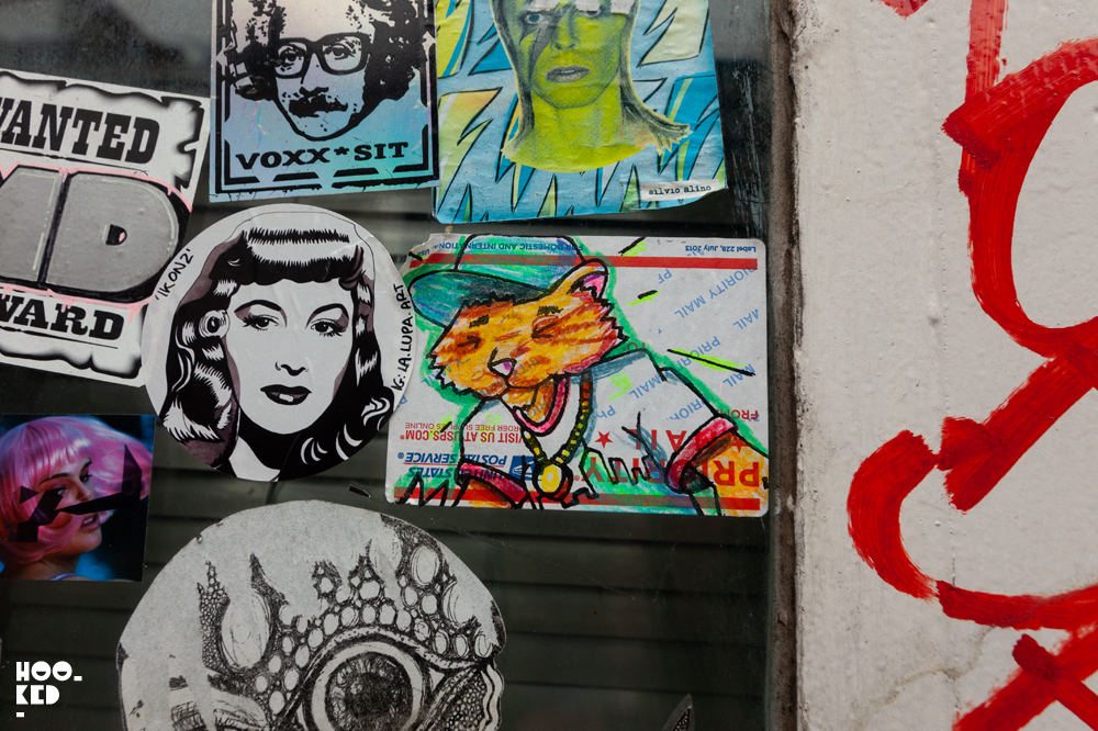 New York Street Artist City Kitty, Shoreditch Street Art Stickers in London