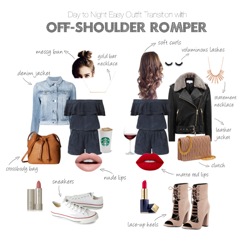 {Outfit Challenge} Day to Night Easy Outfit Transition with off shoulders romper