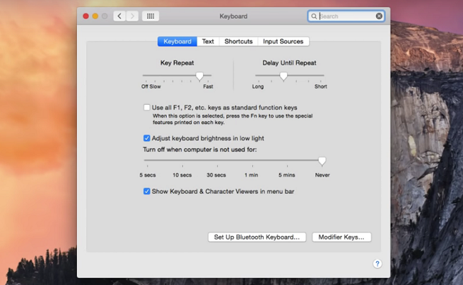 mac keyboard settings