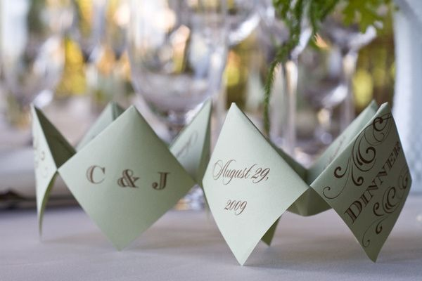 cootie catcher menus | vintage california chic wedding of Oh Lovely Day | Photo by Jennifer Roper