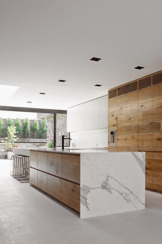 Drewno i marmur w kuchni