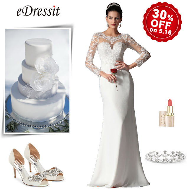 scoop sheer top lace evening wedding gown