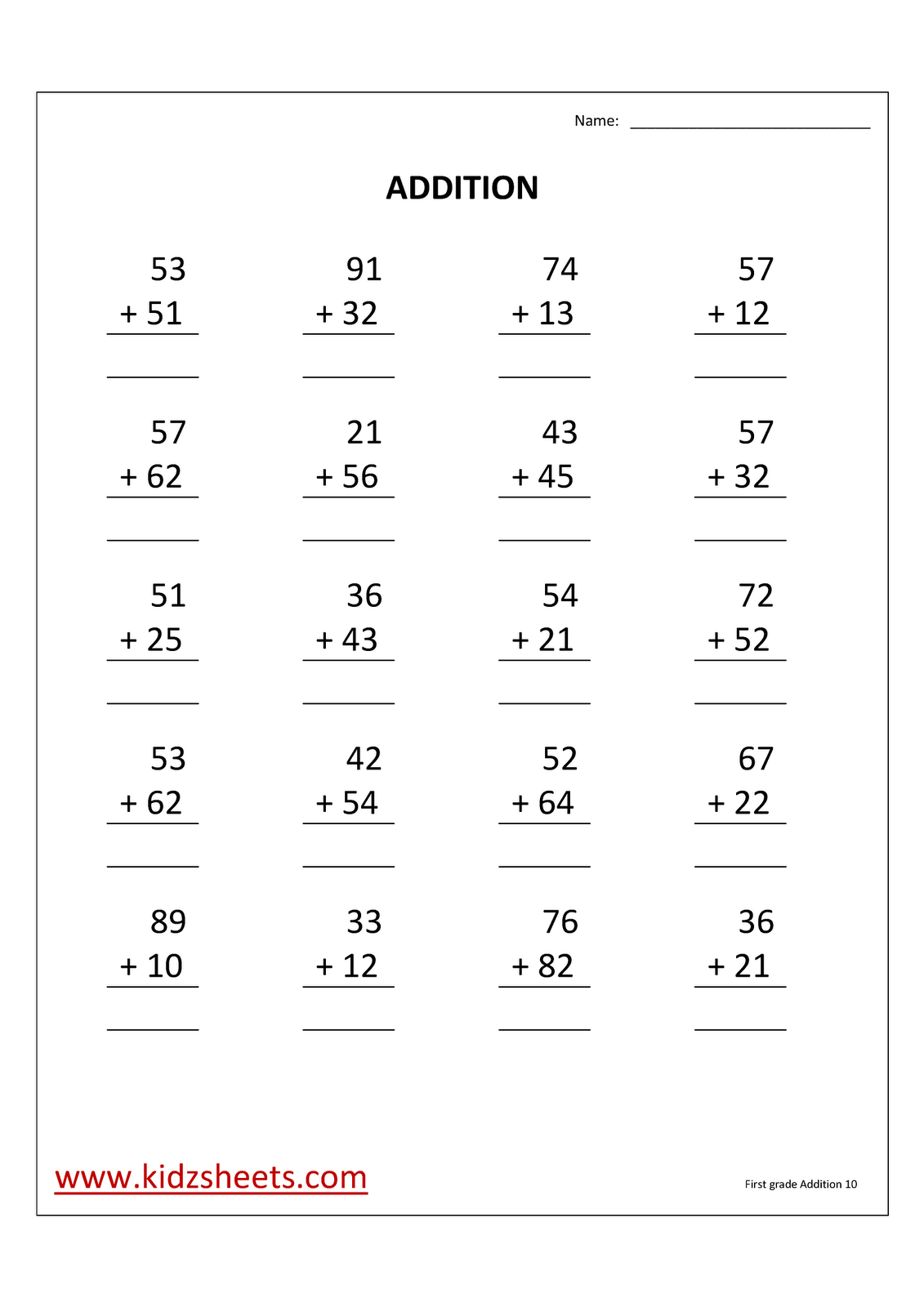 Kidz Worksheets First Grade Addition Worksheet10