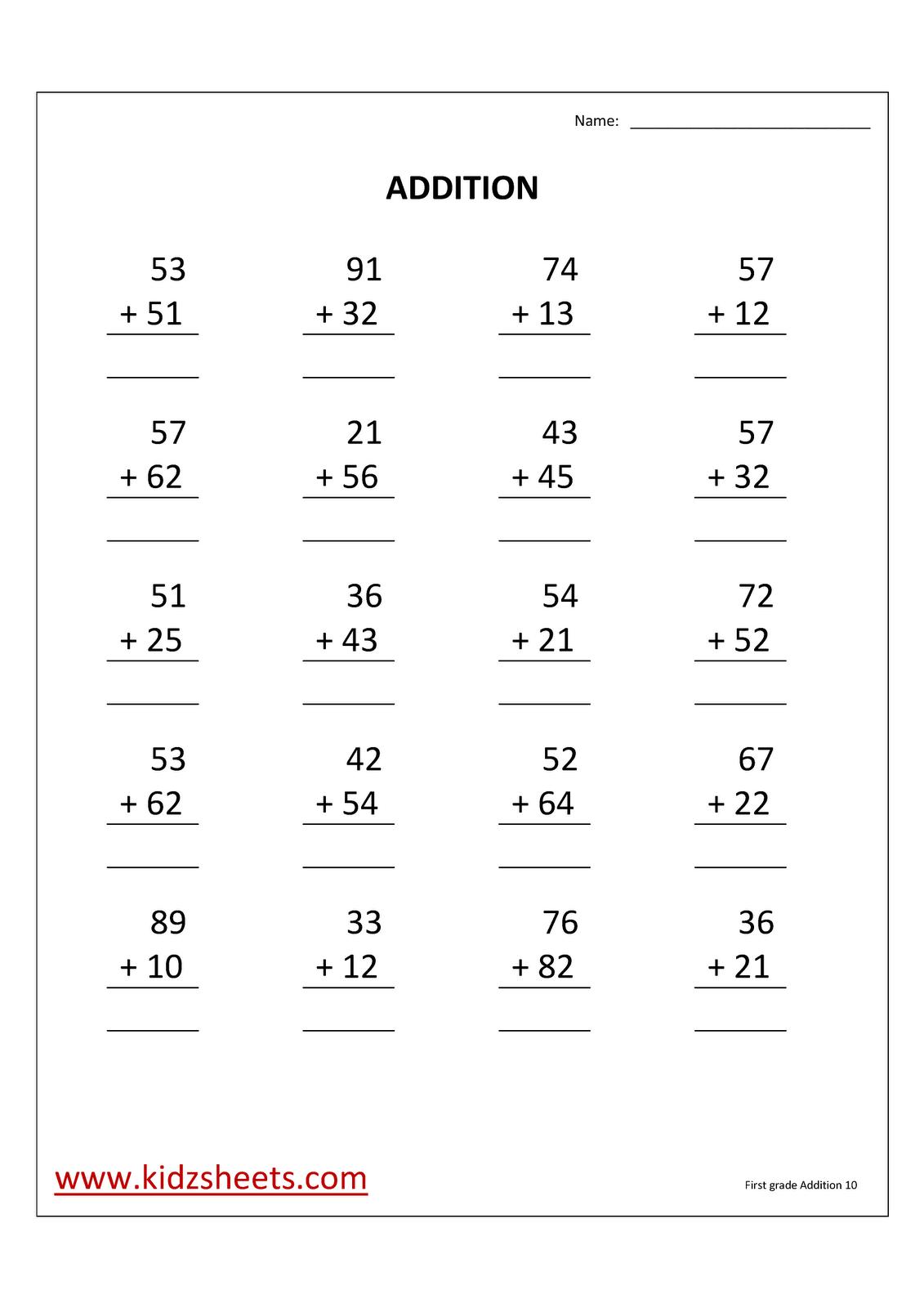 medium resolution of Kidz Worksheets: First Grade Addition Worksheet10
