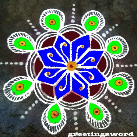 Best Rangoli design for Diwali with Eight-side Dot Flower leaves,see below the image.