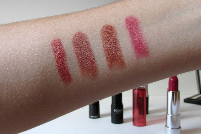 Kiko Milano Smart Lipstick in 925, MAC Matte Lipstick in Velvet Teddy, Kiko Milano Smooth Temptation Lipstick in 04, Essence Sheer & Shine Lipstick in 09, current lip picks, lipstick swatches
