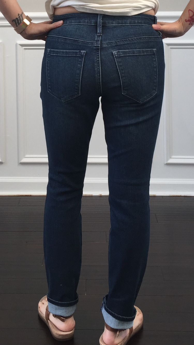 The material is stretchy and does not feel constricting like some other  pairs of jeans I have. I really like the dark wash. 81b0f3229