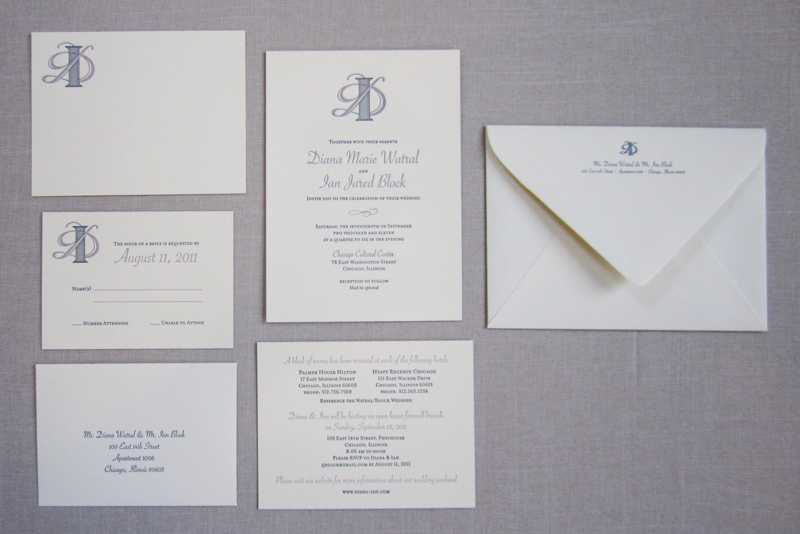 Wedding Invitations With Response Cards And Envelopes: Tailored: New Designs: Diana & Ian's Wedding Stationery