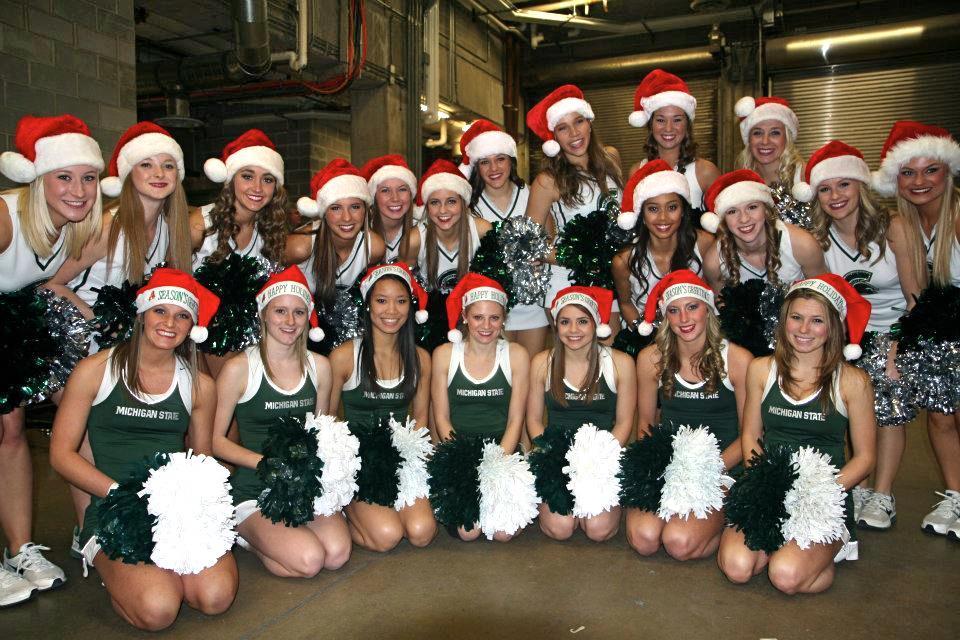 Michigan State Cheerleaders Bring Us Christmas in July