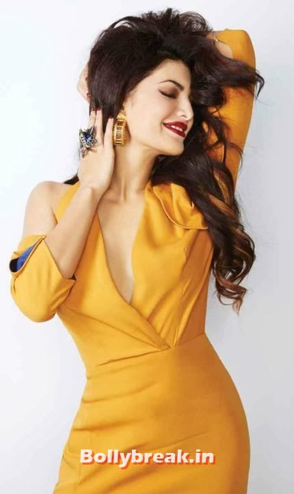 Jacqueline Fernandez LOfficiel Yellow Dress, Jacqueline Fernandez Hot Pics from L'Officiel Cover Shoot 2013