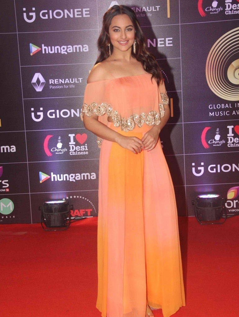 Actress Sonakshi Sinha Stills In Orange Gown At Gima Awards 2016