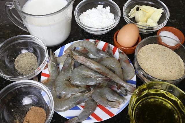 Ingredientes para bocaditos de langostinos