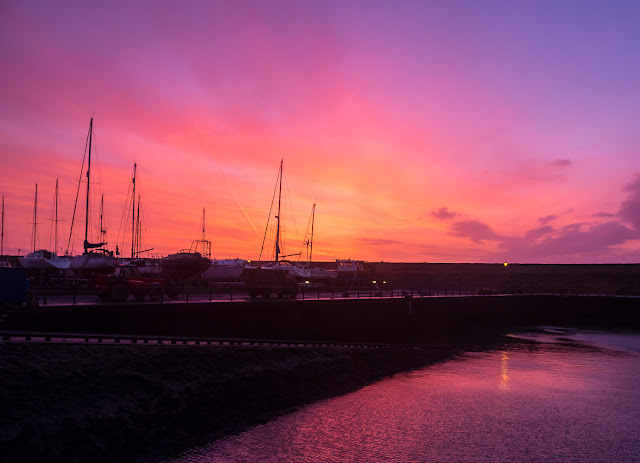 Photo of the colourful sunset over the slipway at Maryport Marina on Saturday