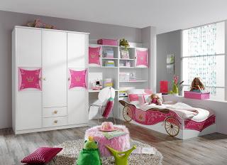 Cuarto de niña en rosa y gris