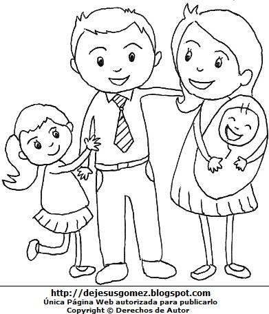 Imagen de la Familia para colorear para niños. Dibujo de la familia hecho por Jesus Gómez