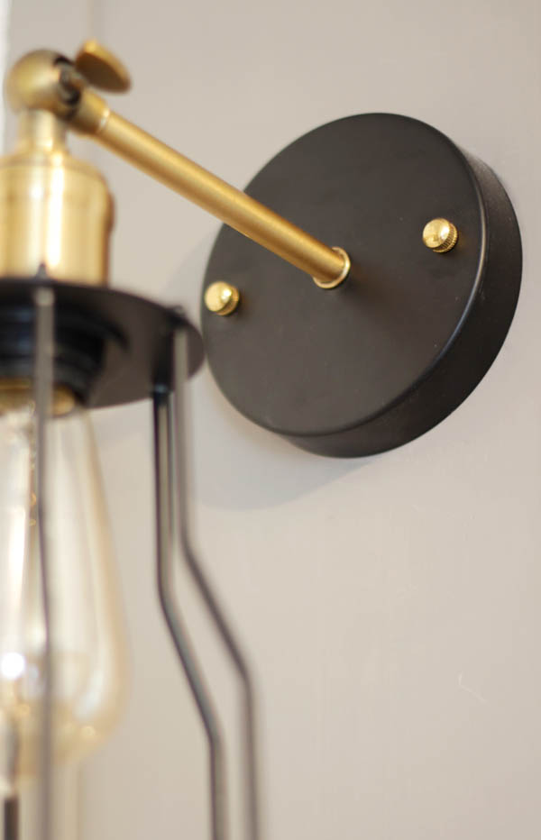 boy's room lights, sconces on built-ins around bed, black and gold