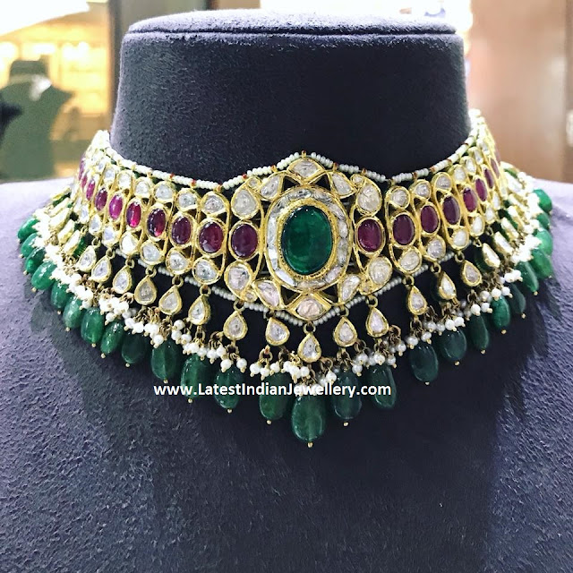 Astonishing Emerald Drops Polki Choker