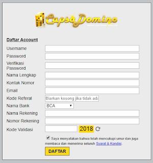 form pendaftaran capsadomino.com agen capsa dominoqq agen domino bandar sakong bandarq online indonesia