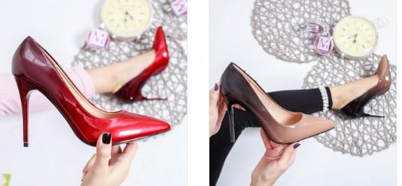 Pantofi lacuiti rosii, negri cu toc in degrade eleganti de ocazii