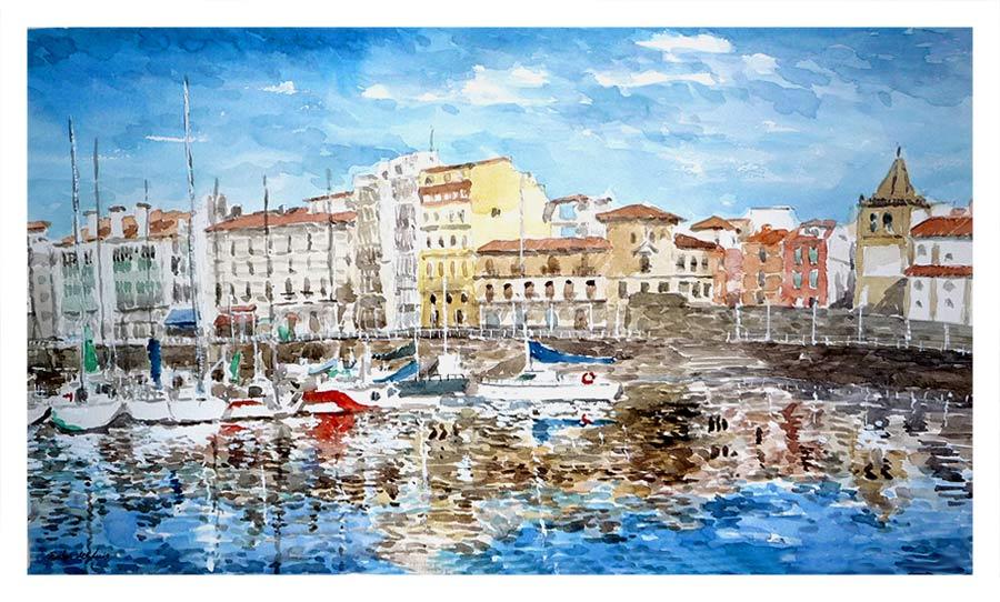 Leos acuarelas rub n de luis dos cuadros de tema - Pintores en asturias ...