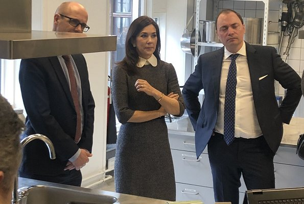 Crown Princess Mary is wearing her Prada peter pan collar midi dress
