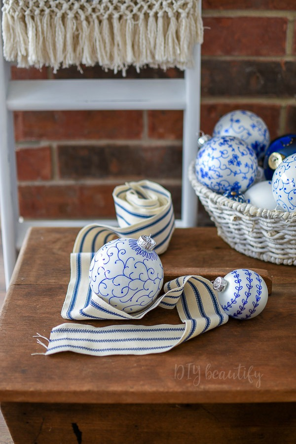blue and white ornaments to make