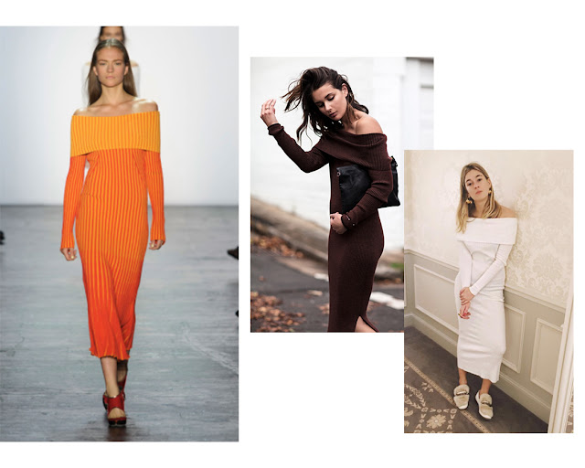 Spring 2016, Spring trends, fashion trends, cold shoulder tops, slip dress, pajama dressing, flat mules, off the shoulder, menswear inspired suit, slouchy suit,