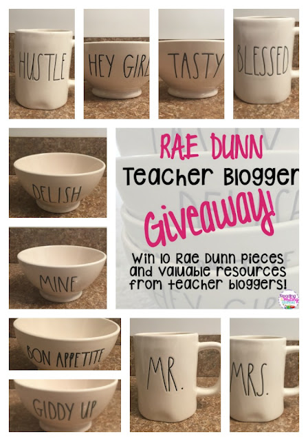 Rae Dunn GIveaway - win 10 pieces and nine resources from amazing Teacher Bloggers at Reading and Writing Redhead's Blog