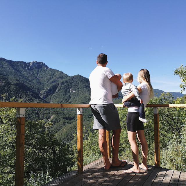 Beautiful family together looking at the mountains