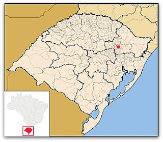 Cidade de Veranópolis, no mapa do Rio Grande do Sul