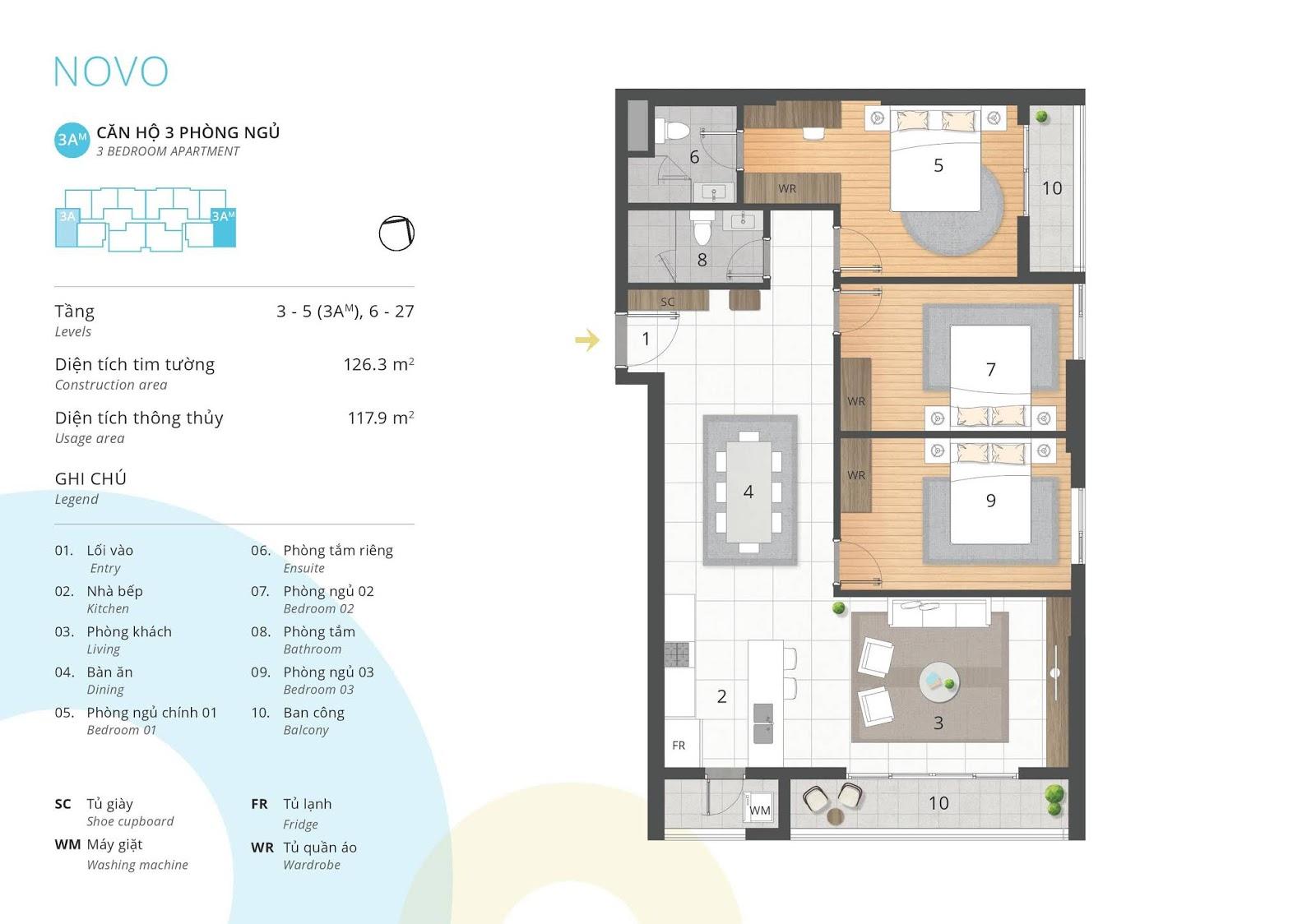 Mặt bằng căn hộ 3 phòng ngủ 117 m2 thông thủy tòa NOVO dự án Kosmo
