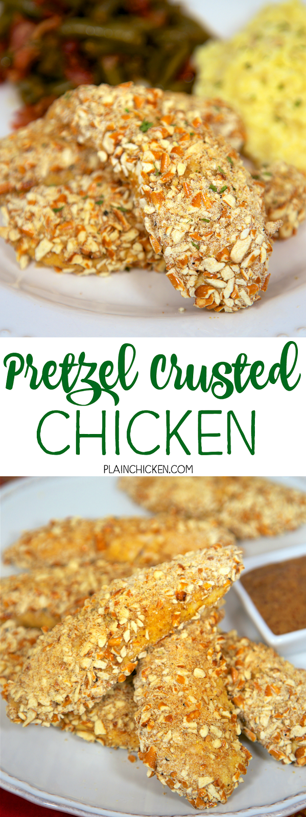 Pretzel Crusted Chicken Tenders - chicken coated in cornmeal, dijon mustard, garlic and pretzels then baked. Ready in under 20 minutes! My husband raves about these! He asks me to make them at least once a week! SO good! Can coat and freeze for later!!